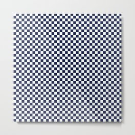 Indigo Navy Blue Checks Metal Print