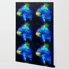 blue yellow breasted macaw parrot bird splatter watercolor Wallpaper