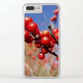 Winterberries glow against a blue autumn sky Clear iPhone Case