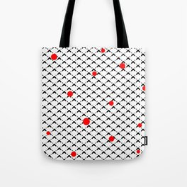 Black and White Wicker with Red Dots Tote Bag