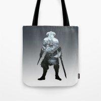 skyrim Tote Bags featuring Skyrim by Ioana Muresan