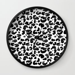 Leopard Print Black & White Wall Clock