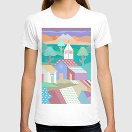 Pastel Andean Village Patchwork T-shirt