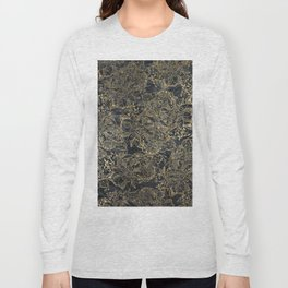 Glam black gray faux gold creased paper floral Long Sleeve T-shirt
