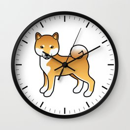 Red Shiba Inu Cute Cartoon Dog Wall Clock