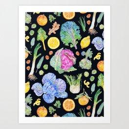 Winter Harvest Pattern Dark Art Print