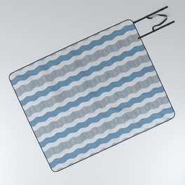 Wavy River in Blue and Gray 1 Picnic Blanket