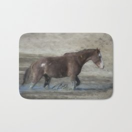 Mustang Getting Out of a Muddy Waterhole the Slow Way painterly Bath Mat