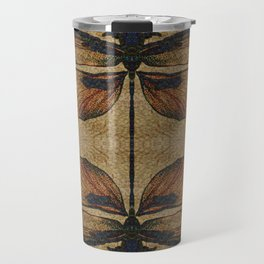 Dragonfly 2.0 Mirrored on Leather Travel Mug