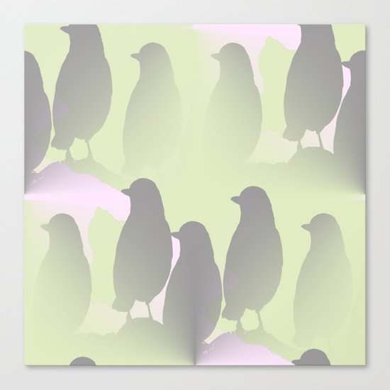 Spring mood - singing birds on a green pink background Canvas Print