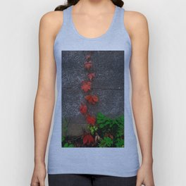 Red and green leaves on the wall Unisex Tank Top