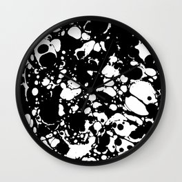 Black and white contrast ink spilled paint mess Wall Clock