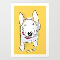 bull terrier Art Prints featuring bull terrier by bbay