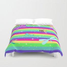 Butterflies & Rainbow Stripes Duvet Cover