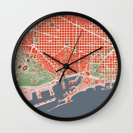 Barcelona city map classic Wall Clock