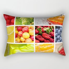 Colorful & Vibrant Fruit Collage Rectangular Pillow