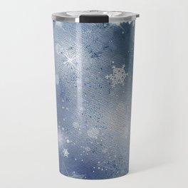 Silver blue snowflakes Travel Mug