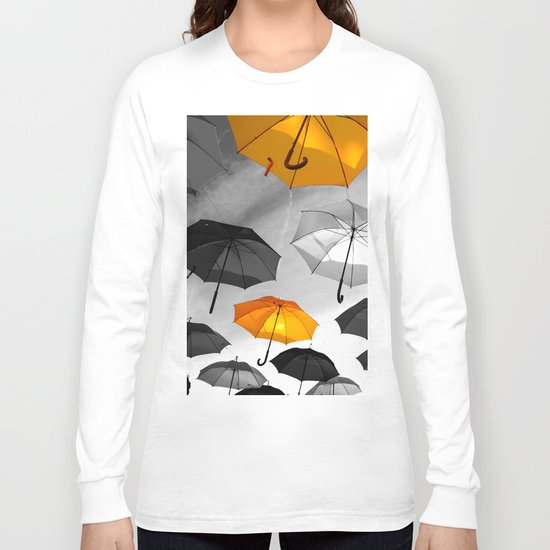Yellow  is my color - Yellow and Black Umbrellas Long Sleeve T-shirt