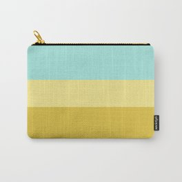 A neat tranquility of Meat Brown, Aqua Marine, Blue Lagoon and Flavescent stripes. Carry-All Pouch