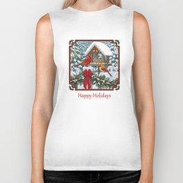 Red Cardinals and Christmas Bird Feeder Biker Tank