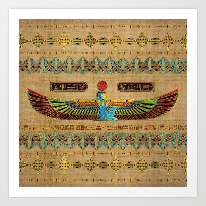 Egyptian Goddess Isis Ornament on papyrus Kunstdrucke