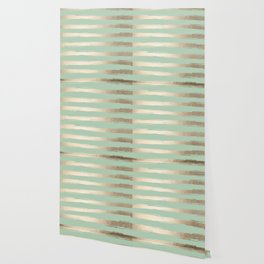 Simply Brushed Stripes White Gold Sands on Pastel Cactus Green Wallpaper