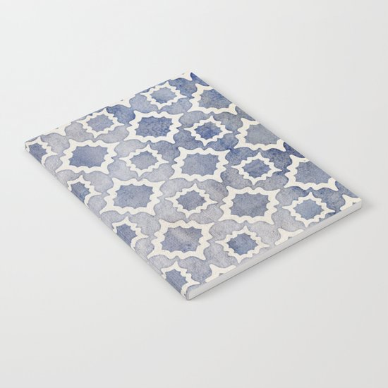 Worn & Faded Navy Denim Moroccan Pattern in grey blue & white Notebook