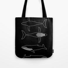 Humpback Whale on black Tote Bag
