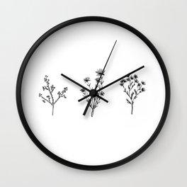 Wildflower Trio Wall Clock