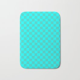 Cyan and Turquoise Checkerboard Bath Mat