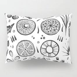 Botanical Pattern - Tropical Fruits and Leaves Pillow Sham