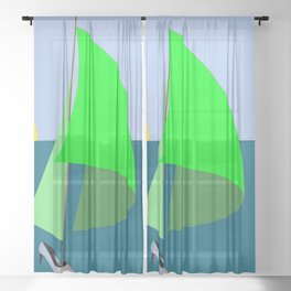 May in green red and yellow Sheer Curtain