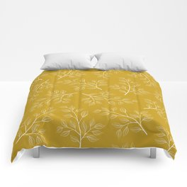 White Branch and Leaves on Mustard Yellow Comforters