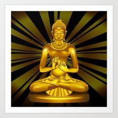Buddha Siddhartha Gautama Golden Statue Art Print