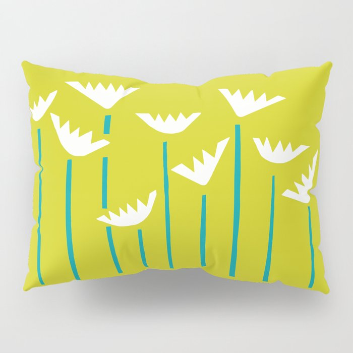 Chartreuse, Teal and White Tropical Plants Pillow Sham