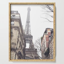 Paris streets, Eiffel tower, city skyline, industrial fine art photo, shabby chic Serving Tray