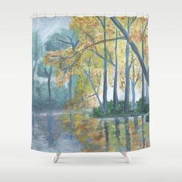 Spring Trees Reflecting Over Lake Shower Curtain