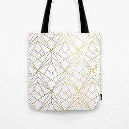Golden Diagonal lines Pattern Tote Bag
