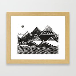 Abstract Tribal Mountains Illustration Framed Art Print