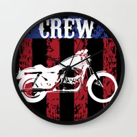 sons of anarchy Wall Clocks featuring Sons of Anarchy - Reaper Crew by QINdesign