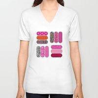 nail polish V-neck T-shirts featuring Nail Files by ts55