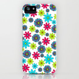 60s flowery pattern iPhone Case