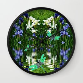 TURQUOISE DRAGONFLIES IRIS WATER REFLECTIONS Wall Clock
