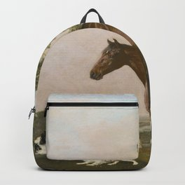 bay hunter horse with two playful spaniels by George Stubbs Backpack