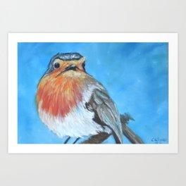 Little Whimsical Robin Red Breast Art Print