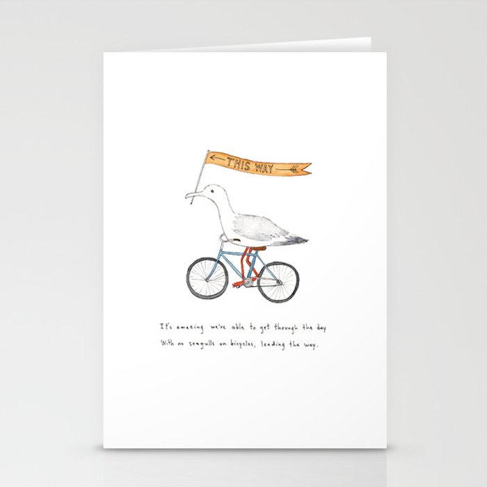 seagulls on bicycles Stationery Cards