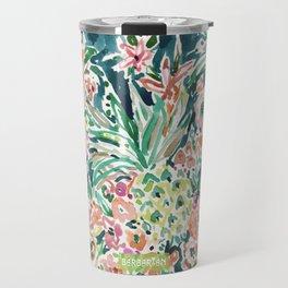 PINEAPPLE PARTY Lush Tropical Boho Floral Travel Mug
