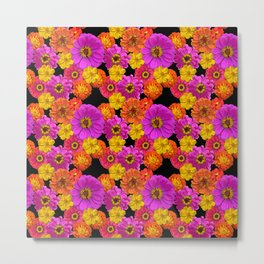 Colorful Flowers on Black Metal Print