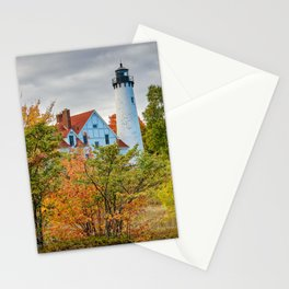 Michigan Upper Peninsula Lighthouse Autumn Great Lakes Landscape Stationery Cards