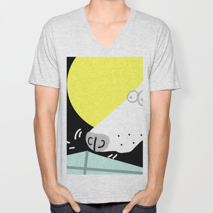Dog Sniffing Kite by the Light of the Moon Unisex V-Neck